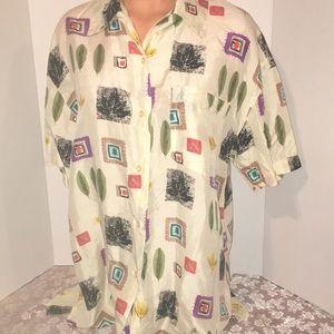 100% Silk feathers design buttons Shirt Blouse Top